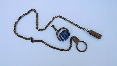 ANTIQUE VICTORIAN  Spinner Watch Fob With Stunning Blue Banded Agate Stone