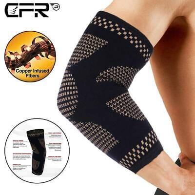 Elbow Support Brace Compression Arm Sleeve Copper Infused Joint Pain Relief Gym