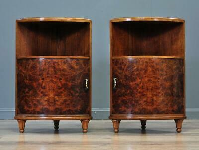 Attractive Pair Of Small Vintage Burr Walnut Bedside Side Corner Cabinets