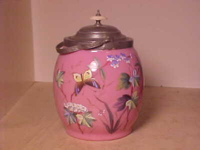 Antique Pink Cased Glass Enameled Bisquit Jar Silverplate With Butterfly