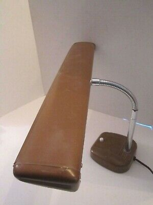 vintage goose neck desk lamp Model 4101. Tan Metal. Mid Century Modern Retro