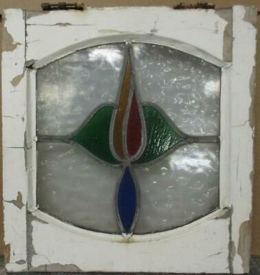 "OLD ENGLISH LEADED STAINED GLASS WINDOW Pretty Arched Floral 15.5"" x 16.5"""