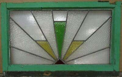 "OLD ENGLISH LEADED STAINED GLASS WINDOW TRANSOM Geometric Burst 28.5"" x 18"""