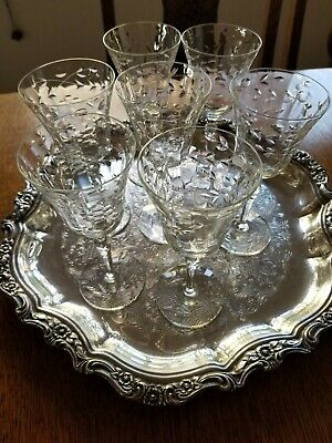 """Antique Cut Etched Crystal 7 Stemmed Wine Glasses 6.25"""" tall c.1920's"""