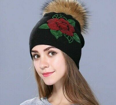 Knitted Winter Embroidered Hat For Women Wool Sequins Skullies Beanies Head Caps