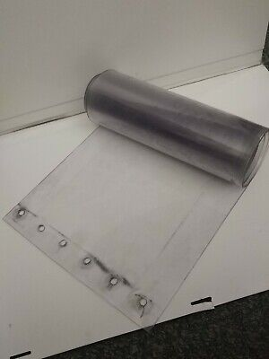 """Clear Plastic / PVC vinyl strip 12"""" wide, 92"""" long. 1/8"""" thick.  Used, marked up"""