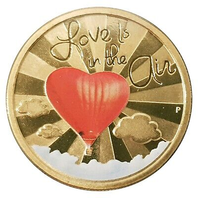 2015 Love Is In The Air Tuvalu $1 One Dollar Coloured UNC Coin Carded Perth Mint