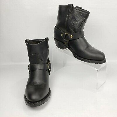 Double H Ankle Boots Harness Comfy Black Western Leather Booties Womens US 6 M