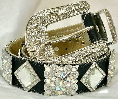 Western LEATHER Solid Bling Belt Crystal Rhinestones Cowgirl Rodeo Turquoise