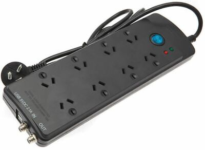 8-Way Surge Protected Power Board w/USB Phone+Tablet Chargers+Switch+Wide Space