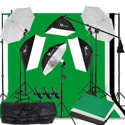 Photography Studio Continuous Lighting Softbox Background Kit with Boom Arm