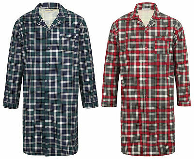 Walker Reid Mens Checked Nightshirt Flannel Cotton Button Up Tartan Nightwear