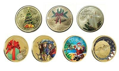 Australia 2011 - 2017 Merry Christmas 7 Different $1 Dollar UNC Coins All Carded
