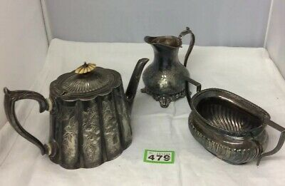 Victorian Silver Plated Tea Set Mismatched Teapot Sugar Bowl Milk Jug Ornate