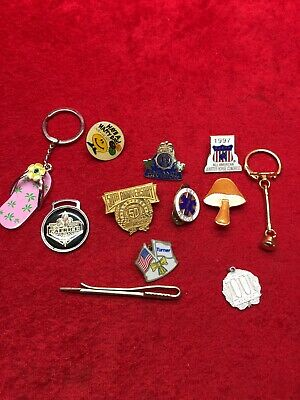 Vintage Mixed Lot Junk Drawer Key Chain Lapel Hat Pin Lot