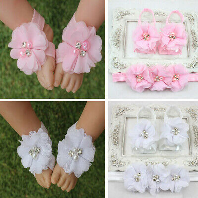 Baby 0-12M Girl Barefoot Sandals Christening Wedding Soft Flower Shoes Decor