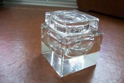 Antique clear cut glass inkwell , square shape