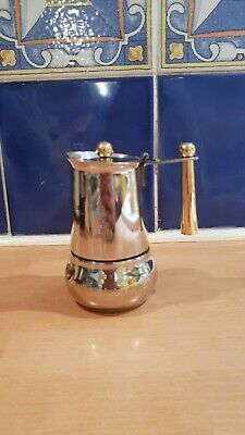 Vintage Bialetti Silver Gold Moka Espresso Stovetop Stainless Steel 3 Cup