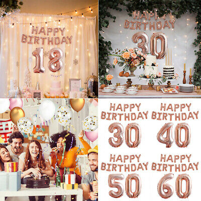Rose Gold Happy Birthday Balloons Foil Number 16th 18th 21st Age Decorations New