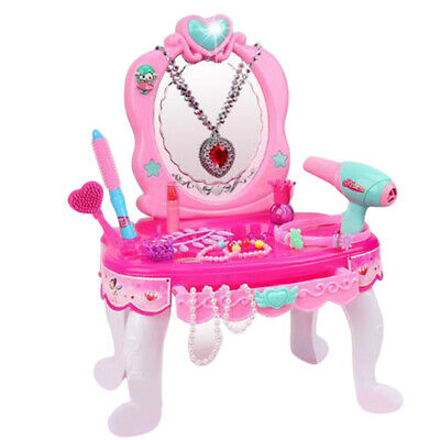 Kid Vanity Makeup Table Pretend Beauty Make Up Stool Play Set for Girls Pink