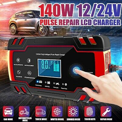 12V 24V  Touch Screen LCD Pulse Repair Smart Battery Charger Car Motorcycle