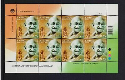 Cyprus 2019 Ghandi Mnh Stamp In Sheetlet Of 8 Pieces Combined Shipping