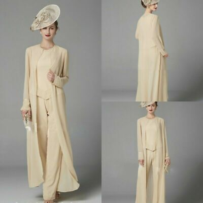 3PCS Mother Of The Bride Trouser Suit Outfits Jackets Groom Guest Gowns Sequined