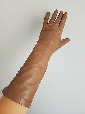 Vintage Long Soft Kid Leather Silk Lining Gloves Beige Brown Macy's Box S