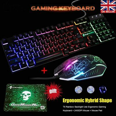 T6 Rainbow Backlight USB Ergonomic Gaming Keyboard and Mouse for PC Laptop UK