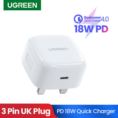 Ugreen 18W USB Type C Quick Charge UKPlug PD Wall Charger Power Adapter for iPad