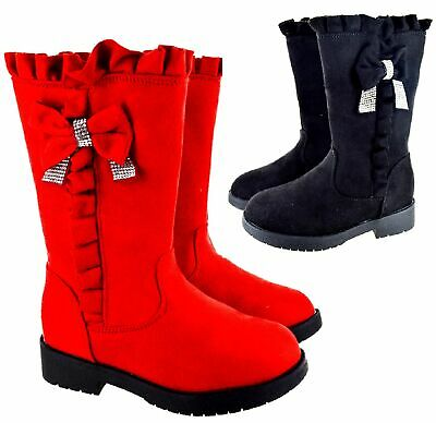 Childrens School Festive Mid Calf Winter Boots Kids Girls Bow Flat Sole Shoes Sz