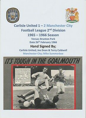 Joe Dean Terry Caldwell Carlisle Utd & Summerbee Man City 1966 Autograph Picture