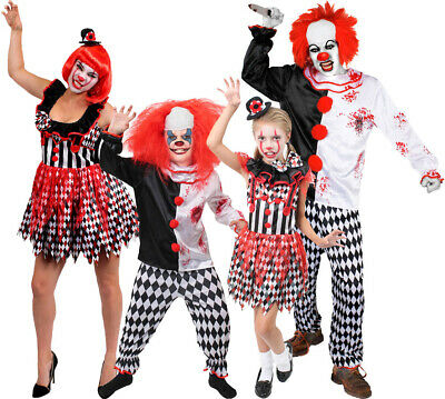 Adult Or Child Killer Clown Costume Halloween Fancy Dress Family Add Accessories