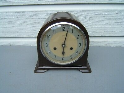 "Smiths Bakelite dome top mantel clock  Working smiths key & pen 8"" high     B4"