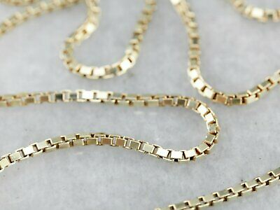 "14K Solid Yellow Gold Box Necklace Real Gold Chain 22""  Inch"