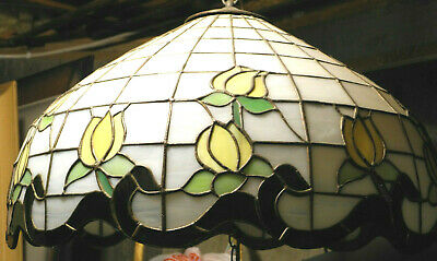 Tiffany Style Stained Glass Hanging Lamp Tulip Design