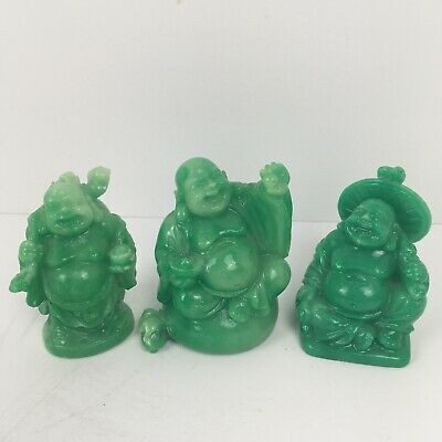 3 Jade Green Color Buddha Lot China Small Different Posses