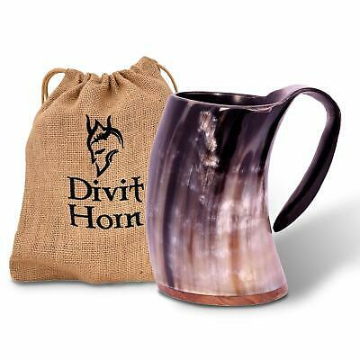 Genuine Viking Drinking OX Horn Mug | Authentic Medieval Beer Horn Tankard Divit