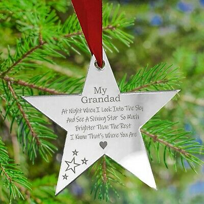 Personalised Christmas Star Tree Bauble Decoration Xmas Memorial Family Gift