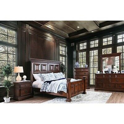 Bedroom Furniture Espresso Wood Inlay Queen Size Bed Dresser Mirror Nightstand
