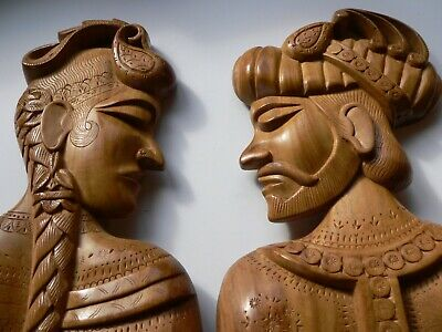 Pair of large hand carved wooden heads Indonesia? Bali? wood sculptures