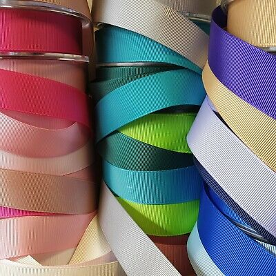 """Premium Quality DOUBLE SIDED Grosgrain Ribbon 25mm / 1"""" Wide Plain Solid Per 1M"""
