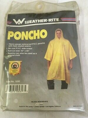 Weather-Rite  Yellow Rain Poncho - Hooded Poncho - new and unopened - dusty