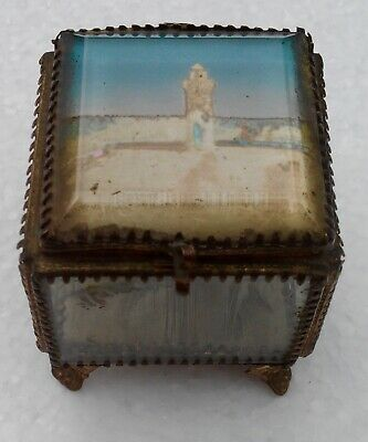 Antique Boxset Box Jewelry Glass Bevelled and Brass, Cherbourg the Lighthouse