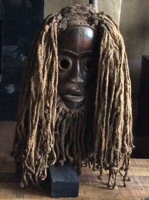 Impressive Wood African Mask on Stand