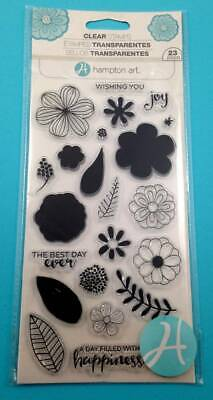 Hampton Art Clear Stamps Flowers Joy Wishing You The Best Day Ever Floral 23pc