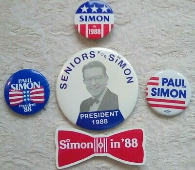 Paul Simon for President 1988 Campaign 5 Pins Red Bow Tie Seniors Illinois Senat