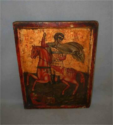 Antique Greece Greek TOP VERY HIGH AGED GOLD PAINTED ORTHODOX ICON SAINT GEORGE