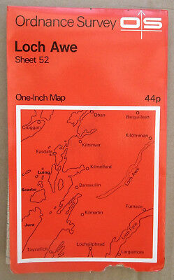 "Vintage Loch Awe OS Map 1"" 1962 - Paper - Sheet 52 - Genealogy - History"