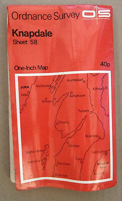 "Vintage Knapdale OS Map 1"" 1969 - Paper - Sheet 58 - Genealogy - History"